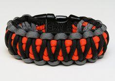 Paracord Survival Bracelet King Cobra - Grey Black with Neon Orange ...