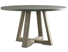 """Saratoga Round Dining Table Saratoga Round Dining Table SKU # SR-301 54""""diameter x 29""""h Material: Tops have a surface layer of cement over plywood. Bases are made of solid white oak. Finish: Cement: Smoke Wood Bases: Driftwood  <1665 in 2014"""