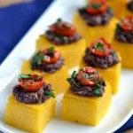 Polenta-Olive Tapenade Bites I'm so enjoying these stretch. Polenta-Olive Tapenade Bites I'm so enjoying these stretched out evenings. No Cook Appetizers, Healthy Appetizers, Appetizers For Party, Appetizer Recipes, Delicious Appetizers, Appetizer Ideas, Polenta Appetizer, Savory Snacks, Canapes Ideas