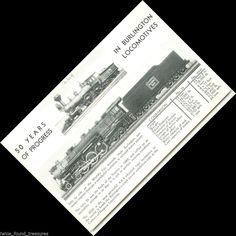 tr051 50 Years of Progress World's Fair Trains Burlington Route Train Postcard