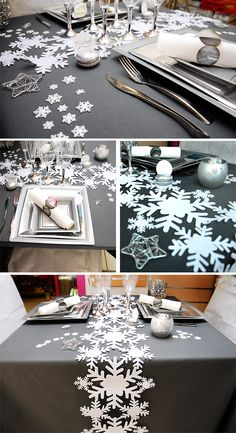 Dcoration de table de Noel 2012-2013 - Table grise et blanche flocon de noel - Blog dco Arts Ephmres