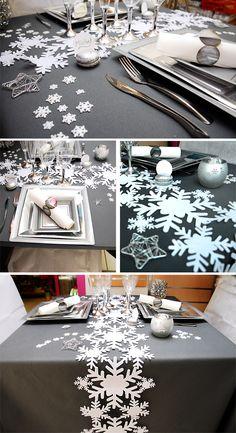 Décoration de table de Noel 2012-2013 - Table grise et blanche flocon de noel - Blog déco Arts Ephémères