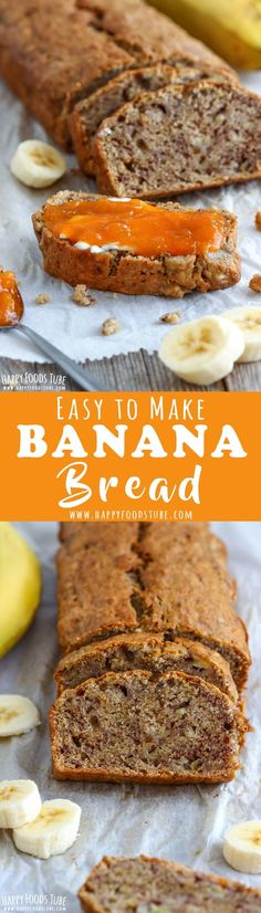 Simple homemade banana bread is the star among quick breads. Soft, moist and sweet this bread goes well with, butter, honey or jam! How to make banana bread with 3 bananas. Quick and easy banana bread recipe. #bananabread via @happyfoodstube
