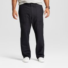Men's Big & Tall Straight Utility Cargo Pant - Goodfellow & Co Black 38X36