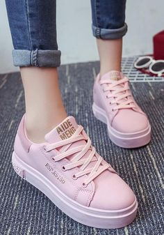 Pink Round Toe Flat Letter Print Casual Shoes Available Sizes Heel Height :Flat Boot Shaft :Ankle Color :Pink Toe :Round Shoe Vamp :PU Leather Closure :Lace-up Sneakers Mode, Sneakers Fashion, Fashion Shoes, Shoes Sneakers, Shoes Heels, Footwear Shoes, High Heels, Tennis Shoes Outfit, Casual Shoes