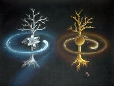 J.R.R.Tolkien's The Two Trees of Valinor ~ Telperion & Laurelin, the Silver Tree & the Gold Tree that brought light to the Land of the Valar in ancient times. They were destroyed by Melkor and Ungoliant the great spider. Morgoth/Melkor stabbed each of the trees with his spear, and Ungoliant drank them dry. But the last flower of Telperion and the last fruit of Laurelin were made by the Valar into the Moon and the Sun. Picture Credit: Julia Pelzer