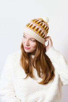 Items similar to Knit Hat Marnie - Multi-color stripe wool hat made of merino wool, white ribbed trim - Pompom Beanie knitted by MARGOT & ME on Etsy Knitting Accessories, Hat Making, Color Stripes, Candyland, Winter Collection, Fabric Material, Merino Wool, Headbands, Knitted Hats