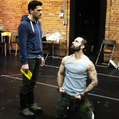 Ramin Karimloo and Swenson rehearsing to play Jean Valjean and Javert in the 2014 revival of Les Misérables on Broadway Broadway Theatre, Musical Theatre, Broadway Shows, Theatre Geek, Love Never Dies Musical, Jean Valjean, Ramin Karimloo, Phantom Of The Opera, My Favorite Music