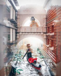 An artistic view of Italy, painted in bricks.