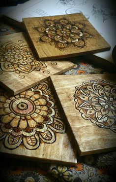 rustic coasters, woodburned coasters, mandala, flower, wooden coaster set, rustic home decor  Visit my shop at https://www.etsy.com/shop/RickiTimberTavi