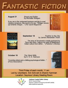 THIS PROGRAM HAS EXPIRED -- Fantastic Fiction meets the 3rd Friday of the month at 11 am.  Open to adults and teens.
