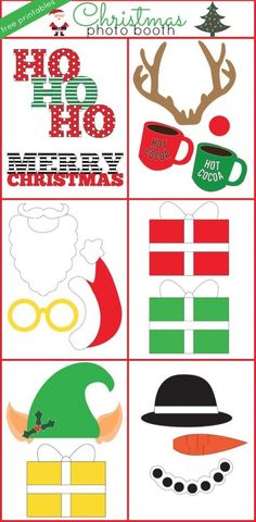 Christmas photo booth free printables for a Christmas party activity with Santa, snowman, Rudolph, and an elf!
