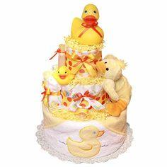 anleitung babygeschenke windeltorte basteln geburt gelb duck