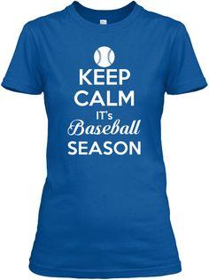 Keep Calm It S Baseball Season Royal T-Shirt Front