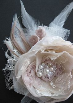 Wedding fascinator bridal flower hairpiece beige by LeFlowers, $39.00 For ceremony.