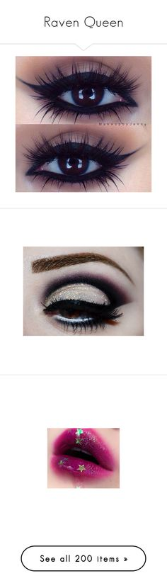 """Raven Queen"" by phoenix-fox ❤ liked on Polyvore featuring beauty products, makeup, eye makeup, eyeshadow, beauty, eyes, pictures, photos, image and lips"