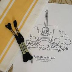 Embroider the Eiffel Tower in your favorite hand embroidery stitches. The free Springtime in Paris pattern can be worked in a solid color or multiple colors of surface embroidery and would look terrific worked on kitchen towels a pillow or an apron front. Embroidery Designs, Floral Embroidery Patterns, Hand Embroidery Stitches, Crewel Embroidery, Embroidery Applique, Cross Stitch Embroidery, Machine Embroidery, Japanese Embroidery, Quilt Patterns