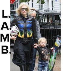 """L.A.M.B. Moto runway leather jacket color block Worn on the runway as well as by the designer, Gwen Stefani. This """"vintage L.A.M.B."""" jacket is beautifully cut and designed- love the splashes of bold, neon colored leather on the pocket panels. L.A.M.B. Jackets & Coats"""