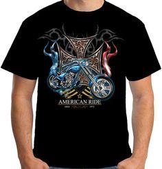 Velocitee Mens American Ride T Shirt Chopper Biker Motorcycle Bobber A17872 #Velocitee