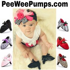 Best Baby Shower Gift or Gift for that Newborn Baby Girl. A Fun Photo Prop or Cute Fashion Accessory. Pee Wee Pumps are High Heels for Babies 0-6 Months Www.PeeWeePumps.com
