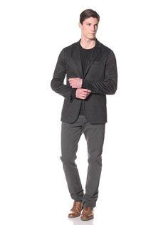 John Varvatos Men's Convertible Notch Lapel Jacket (Concrete Heather) | Fancy Central