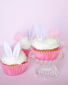 Darling idea for Easter egg hunt. Paper ears and cotton candy tail.
