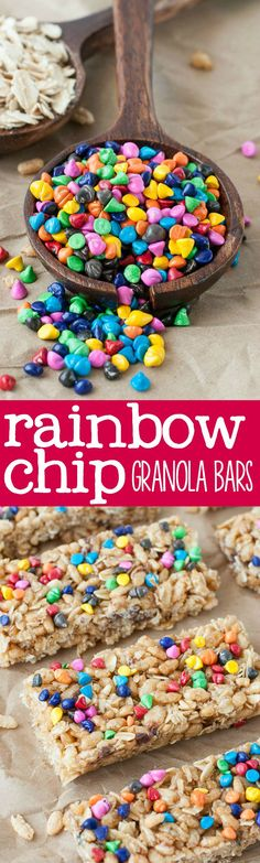 [Homemade!!!] Chewy No-Bake Rainbow Chip Granola Bars