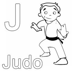 Ausmalbild Buchstaben lernen: Kostenlose Malvorlage: J wie Judo kostenlos ausdrucken