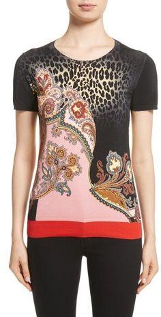 26d2eb1c18 Etro Leopard Paisley Print Stretch Silk Sweater