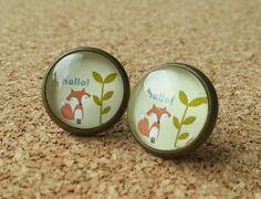 Vos oorbellen bronzen oorbellen klein cadeau glas door NiteOwl15