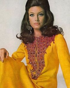 Actress Marisa Mell is wearing a chrome-yellow satin kaftan twill dress with a jewelled bib by Oscar De La Renta, photo by Bert Stern for Vogue, 1967 Style Année 70, Hair Style, Moda Retro, Retro Mode, Vogue, Vintage Fashion Photography, Glamour, 1960s Fashion, Punk Fashion