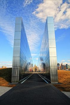 911 Memorial - this is the wall with names of NJ residents who lost their lives on 9/11 in Jersey City  - pic taken from Jersey City looking toward where the twin towers used to be...