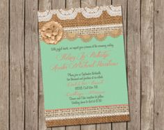 Mint and Coral, Burlap Wedding Invitation, Bridal shower, Digital file, Printable