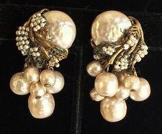 Vintage Miriam Haskell Earrings Pearls Goldtone Dangly Pearl Cluster Signed | eBay