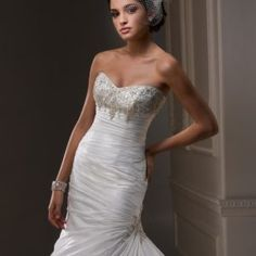Strapless Beaded Satin Fit & Flare Wedding Dress • Ava's Bridal Couture Fit And Flare Wedding Dress, One Shoulder Wedding Dress, Affordable Bridal, Bridal Salon, Bridesmaid Dresses, Wedding Dresses, Old Hollywood, Ava, Short Dresses