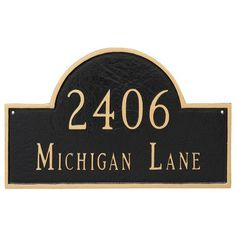 Montague Metal Products Classic Arch Large Two Line Address Plaque Finish: Hunter Green/Gold