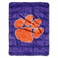 Clemson Tigers Micro Grunge Blanket