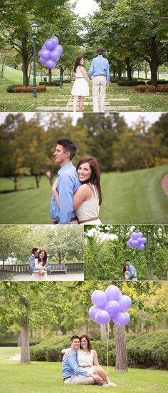 Gorgeous engagement session with lavender and purple balloons in Kansas City at the Nelson-Atkins Art Museum. Beautiful couple captured by www.sengerson.com. There are some other amazing photos in different areas of Kansas City on where to take engagement photos as well!