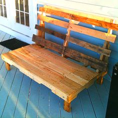 "Patio bench constructed of 100% recycled pallets. Dimensions are 59 1/2"" long, 36"" deep and the back is 38"" high. It only sits 9"" off the ground so it's definitely for relaxing. The back is 105 degrees from the seat. I am still going to add arms on the sides with some type of built in cup holders. It easily fits through a standard 36"" door. It was actually fun, easy and fast to build."