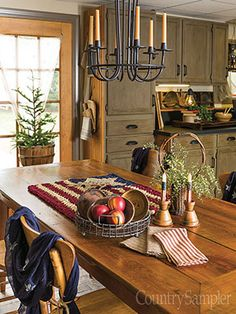 A crocheted flag rug and a few other accents are the perfect amount of accessorizing for a simple tabletop area.