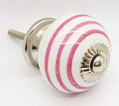 Pink Colour Striped on White Round Ceramic Door Knob Vintage Shabby Chic Cupboard Drawer Pull Handle 4505-PK CeramicDoorKnob.co.uk http://www.amazon.co.uk/dp/B016FOCQ2E/ref=cm_sw_r_pi_dp_Dw5swb0P1CA65
