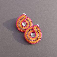 earrings soutache Sunset shell Paua by BlueButterflybizu on Etsy