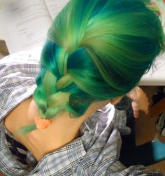 green french braid alpine green, spring green, directions hair dye, washed off a bit.