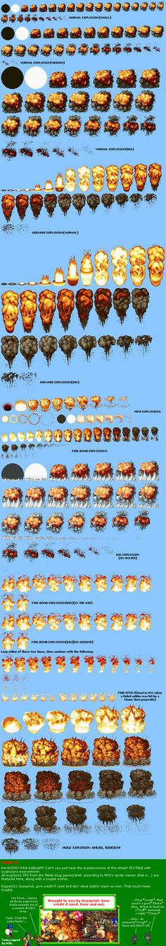 Explosion sprites from Metal Slug (found in Spriter Ressource) for Super 'Mario' Kirby Dash. It's exactly the explosion sprites which Alvin-Earthworm uses for Super Mario Bros. It's been request. Sprites, Paint Photoshop, How To Pixel Art, 3d Mode, 2d Game Art, Pix Art, Pixel Animation, 8 Bits, Pixel Art Games