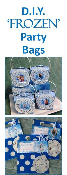 Make your own Disney Frozen kids party bags. Read how at:  http://easybreezyparties.com.au/party-inspiration-and-ideas/item/47-diy-frozen-party-supplies.html #frozen #kidsparty #easybreezyparties