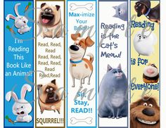 Secret Life of Pets Bookmark Party Favor Digital Printable Instant Download Birthday Reading Library Dog Themed Parties, Boy Birthday Parties, Birthday Fun, Cat Reading, Reading Library, Minion Birthday, Animal Birthday, Printable Invitations, Printable Planner