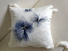 Beautiful #Wedding Ring Pillow in ivory and navy blue