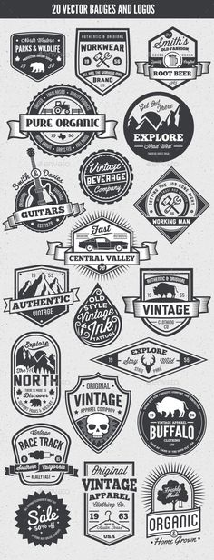 Buy 20 Vintage Style Badges and Logos by GraphicMonkee on GraphicRiver. Overview This vector set contains 20 vintage / retro styled badges, signs and logos. The graphics are vector and. Typography Logo, Typography Design, Branding Design, Lettering, Vector Logo Design, Logos Online, Typographie Fonts, Inspiration Logo Design, Schrift Design