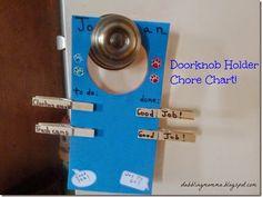 Doorknob Chore Chart for kids #kids #momstuff