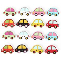 40pcs Wooden Car Shape Sewing Buttons DIY Craft Purse Baby Clothes Decoration Sewing Button